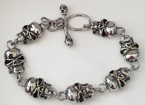 316L Stainless Steel Skull Toggle Bracelet