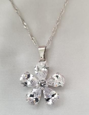 New White Topaz Flower Pendant & Necklace Chain