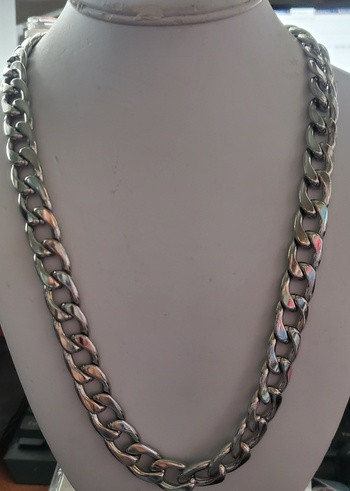 No Reserve Heavy 316L Stainless Steel Figaro Chain Necklace
