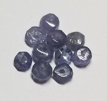 10 Pieces Natural Tanzanite Rondell Beads Loose Gemstone Valentines