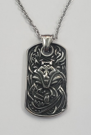 No Reserve Oxidized  316L Stainless Steel Wolf Pendant & Chain Necklace