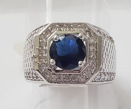 No Reserve Sapphire & White Sapphire Ring Size 9