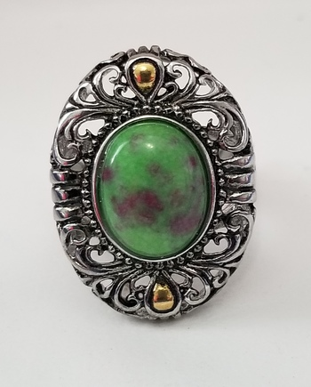 Brand New Natural Ruby Zoisite 316L Stainless Steel Ring
