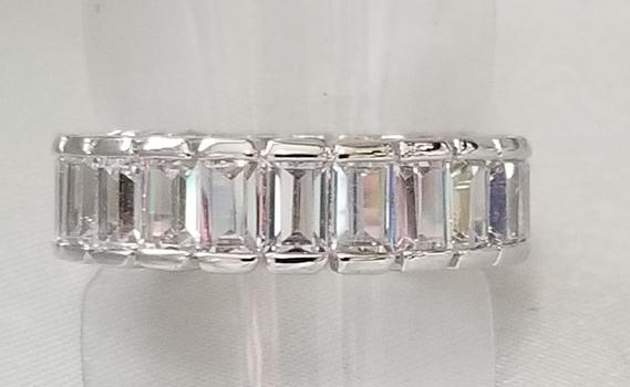 New Baguette Cut White Topaz Eternity Ring Size 7.5