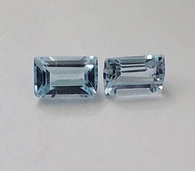 5 x3mm Natural Blue Topaz Emerald Cut Pair Loose Gemstones