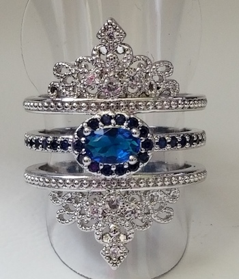 Brand New Antique Style Sapphire 3 Row Ring