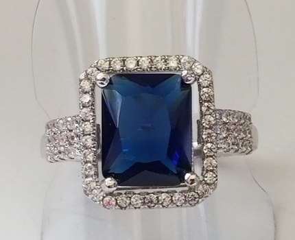 Brand New Emerald Cut Sapphire & Topaz Ring Size 6