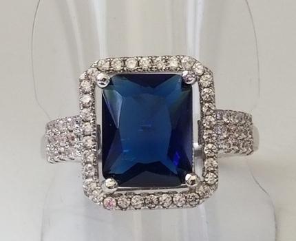 Brand New Emerald Cut Sapphire & Topaz Ring Size 7
