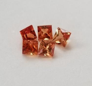 5 Pieces Natural Sapphire Orange Princess Cut Loose Gemstone