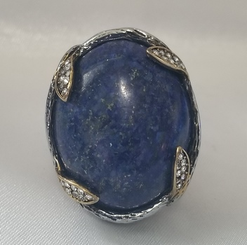 No Reserve Natural Lapis Lazuli & Austrian Crystal Ring Size 9