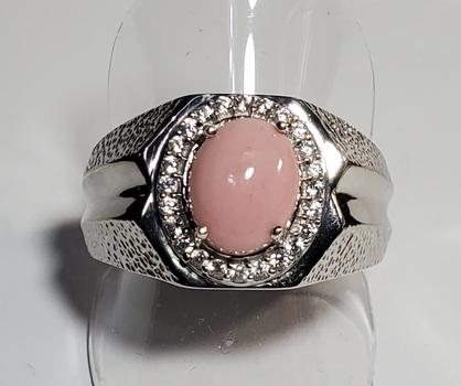No Reserve Peach Opal & Zircon Ring Size 10