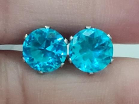 No Reserve Blue Topaz Crystal Stud Earrings