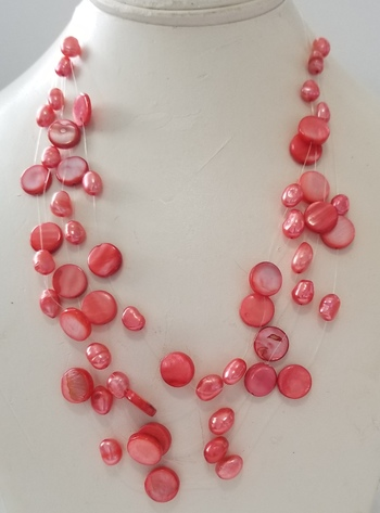Natural Freshwater Pearl & Shell Illusion Necklace