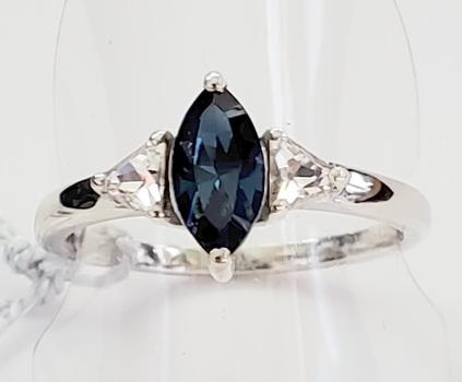 No Reserve Blue & White Sapphire Ring Platinum /.925 Sterling Silver Size 9