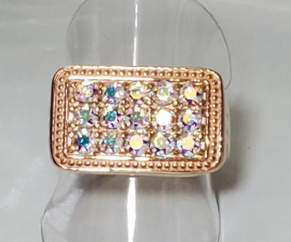 No Reserve Aurora Borealis Swarovski Crystal  Ring Size 11