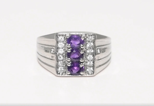 No Reserve Natural Amethyst & Zircon Ring Size 13