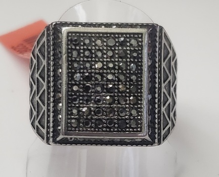 No Reserve Oxidized 316L Stainless Steel Marcasite Ring Size 11