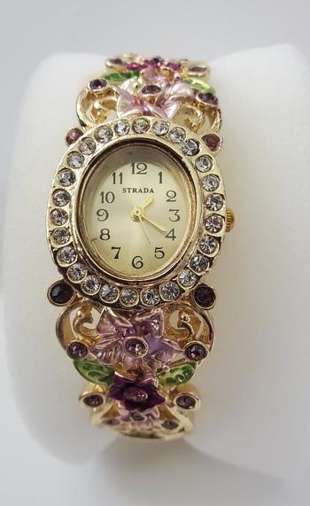 No Reserve Pink & Purple Flower Enamel Crystal Bangle Watch