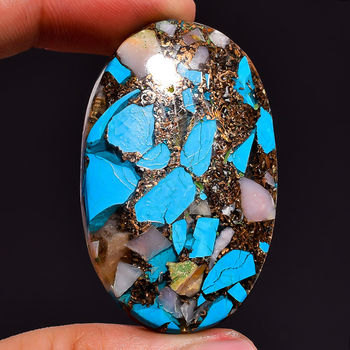 66.40 ct  Natural Spiny Copper Pink Opal Turquoise Oval  Cut Loose Gemstone