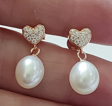 No Reserve Natural White Pearl & Zircon Heart 14k Rose Gold/ .925 Sterling Silver Earrings
