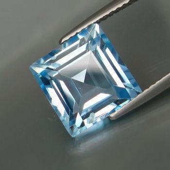 1.32 ct Swiss Blue Topaz Square Cut Loose Gemstone