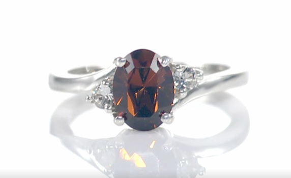 VIDEO No Reserve Smoky Crystal Ring Platinum /.925 Sterling Silver Size 8