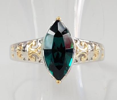 No Reserve Emerald 2 Tone Filigree Ring Size 7