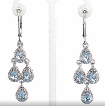 VIDEO No Reserve .925 Sterling Silver Natural Blue Topaz Dangle Earrings