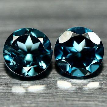 VVS 4mm London Blue Topaz Round Cut Pair Loose Gemstone
