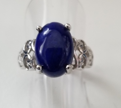 New Natural Lapis Lazuli Filigree Ring Size 7