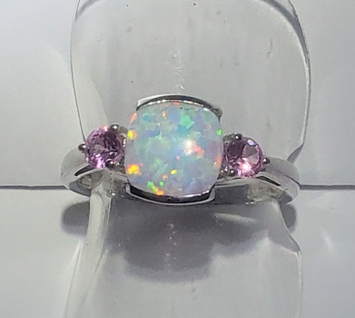 No Reserve Opal & Pink Sapphire .925 Sterling Silver Ring Size 7