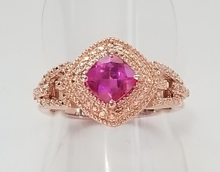 No Reserve Pink Topaz Ring 18k Rose Gold Plated Stainless Steel
