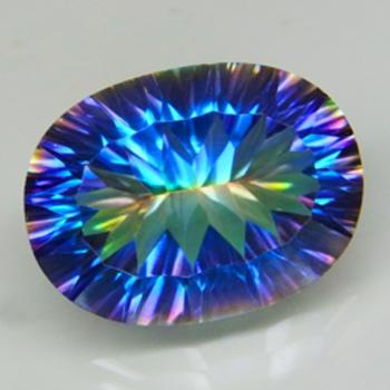 12.06 ct Genuine Rainbow Mystic Quartz Oval Cut Loose Gemstone