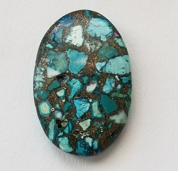 22.74 ct Genuine Blue Mojave Copper Turquoise Oval Cut Loose Gemstone