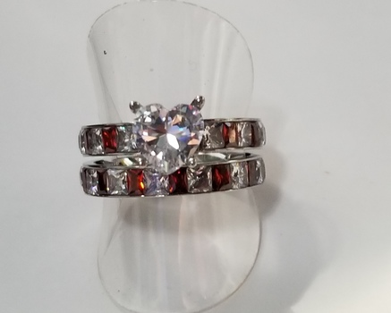 No Reserve Simulated Diamond & Ruby Wedding Engagement Set Rings Size 9