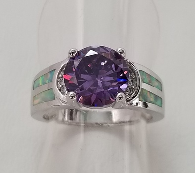 No Reserve Amethyst & Opal Ring Size 7