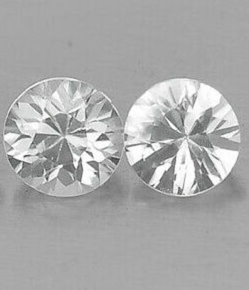 2 Pieces VVS Natural White Topaz Round Cut Loose Pair Gemstone