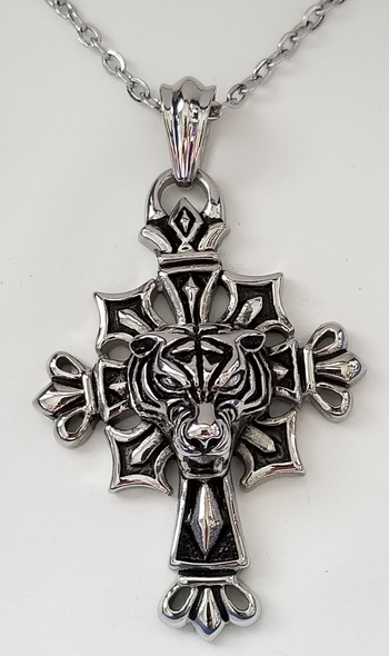 316L Stainless Steel Tiger Cross Crucifix Pendant & Necklace Chain