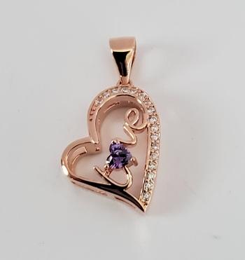 No Reserve Amethyst & Zircon Heart Love Pendant