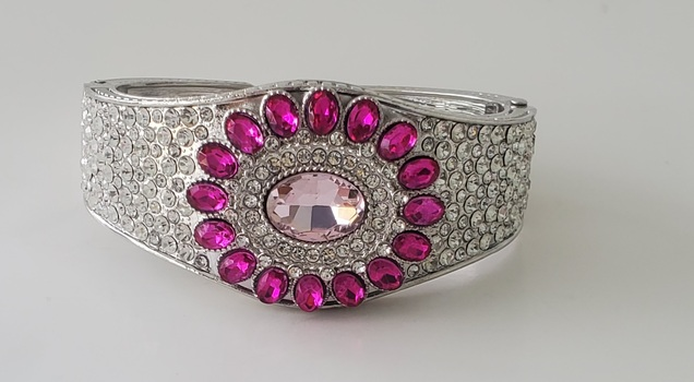 No Reserve Pink Crystals Hinged Cuff Bracelet
