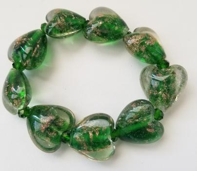 Brand New Heart Dichroic Glass Green Glitter Beaded Bracelet