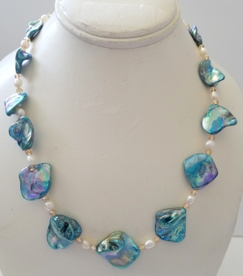 Brand New Natural Blue Biwa & Freshwater Pearl Necklace
