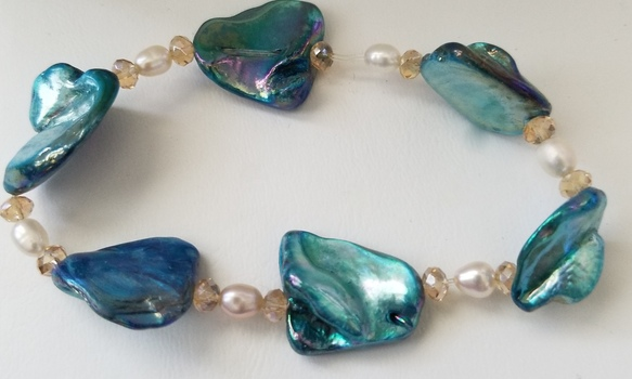 Brand New Natural Blue Biwa & Freshwater Pearl Bracelet