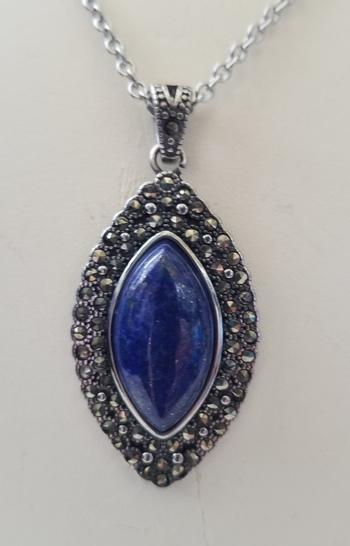 Brand New Natural Lapis Lazuli & Marcasite Pendant Necklace