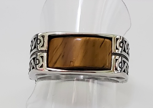 No Reserve.Natural Tigers Eye 316L Stainless Steel Ring Size 12