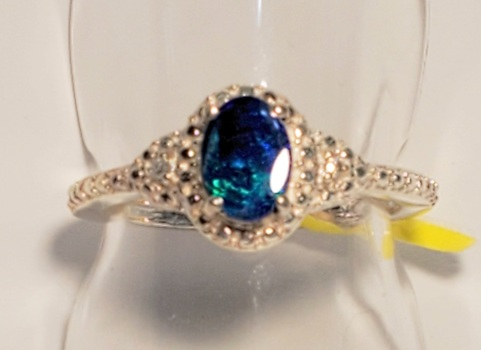 No Reserve Natural Opal Triplet & ZIrcon Ring Size 6