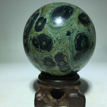2255.25 ct Natural Stromatolite Kambaba Jasper Sphere Ball Display Loose Gemstone