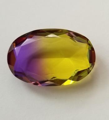 40.80 ct Bi Color Purple Yellow Quartz Oval Cut Loose Gemstone