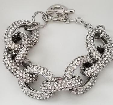 Genuine Austrian Crystal 25mm Link Toggle Bracelet