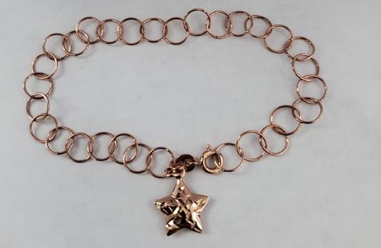No Reserve 18k Rose Gold /.925 Sterling Silver Star Charm Bracelet
